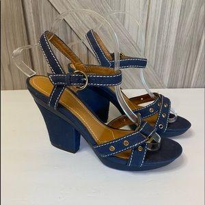 Antonio Melani 8 Blue denim heels white stitching